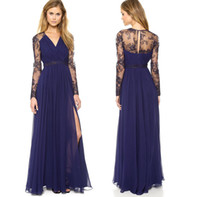 Wholesale Women Skirts Blue Pleated - Summer Fashion Women Sexy V Neck Lace Sleeve Chiffon Maxi Dress Blue Pleated Skirts High Waist Split Long Dress Evening Party Dresses