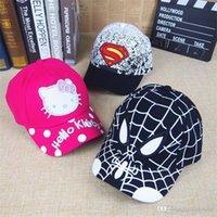 Wholesale Superman Cap Men - Children's ball Cap Cartoons Hello Kitty Superman Spider-Man Baby Duck Tongue Cap 0602#