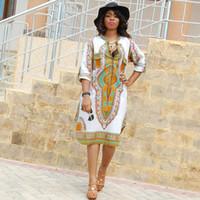 afrikanische kleidungsstoffe großhandel-3XL Plus Size Wholesale afrikanische Kleidung Dashiki Kleid für Frauen Casual Sommer Hippie Print Dashiki Stoff Femme Boho Robe Femme