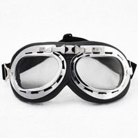 Wholesale Raf Motorcycle - Winter Goggle WWII RAF Retro Pilot Style Chrome Plated Frame Motorcycle Bicycle Cycling Cruiser Touring Helmet Goggles Elastic Strap Padded