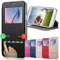 Wholesale S4 Case Window Card - Smart Front Window View PU Leather Case For Samsung Galaxy S7 Edge S3 S4 S5 S6 J5 J7 PU Case Cover Leather Wallet For Iphone5 5S 6S 4S Cases