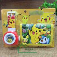 Wholesale Children Wallets Watch Set - poke pikachu Watch Set Cartoon Children Wristwatch Watch Set purses(Watch +Wallet) for Christmas kids Gift