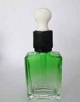 Wholesale Electronic Ciggarette - Wholesale 30ml Gradient Green Flat Square Bottle E Liquid Electronic Ciggarette Empty Glass Dropper Bottle With Childproof Cap