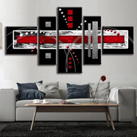 Wholesale Red Grey Oil Paintings - 5 Pcs Set Combined Abstract Canvas Art Red Black Grey Canvas Wall Picture Decoration Home Modern Canvas Oil Art Prints