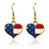 Wholesale Dangling Hook Earrings - Fashion Bohemian Charms Earrings Stainless Steel Hooks Dangle Enamel Heart Gold Color Earrings For Women Jewelry