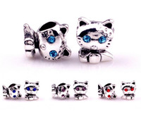 Wholesale European Lovely Beads Charm Bracelet - 2016! fashion accessories charm Silver plated Lovely cat Big Hole Loose Beads Pandora DIY Jewelry Bracelet European Beaded Bracelet Necklace