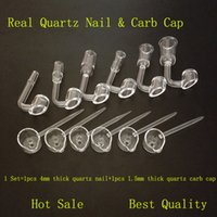 Wholesale Pipe Polishing - 4mm Thick Polish Club Quartz Banger Nail 90 Degree Male Female with Carb Cap Tool 10mm 14mm 18mm For Glass Pipes Bongs Oil Rigs