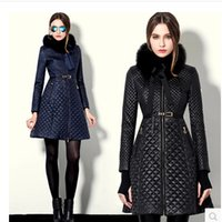 Wholesale Blue Down Coat Leather - winter coat women slim outerwear coats leather fur collar leather clothing trench female thickening wadded jacket outerwear