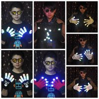 Wholesale Led Gloves Skeleton - LED Skeleton Shuffle Gloves Light Up Shows Light Up Knit Gloves LED Show Gloves for Party Rave Halloween Costume Glove CCA7449 200pairs