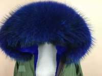 Wholesale Short Rabbit Fur Coats - Mr & Mrs Italy raccoon fur-trimmed canvas mini parka Blue fur fashion luxury parka coats with rabbit fur lined