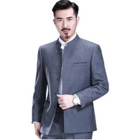 Wholesale Two Piece Tunics - Wholesale- Men's suit collar Chinese tunic suit professional tai chi formal occasions two-piece single-breasted suit