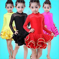 Wholesale Long Sleeve Child Ballet Dress - Bazzery New Winter Spring Children Ballet Dance Dress Girl Long Sleeve Ballet tutus Stage Performance Latin Dress Wear Skirt