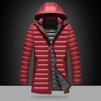 Wholesale Warm Longer Jackets - Wholesale- Long Style Winter Jacket Men Warm Parka Down Coats Hooded White Duck Down Outerwear Jackets Slim Fashion Overcoats M~3XL DJ00802