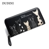 Wholesale Coin Purse Id Holder - Europe Women Cat Cartoon Wallet Long Creative Female Card Holder Casual Zip Ladies Clutch PU Leather Coin Purse ID Holder