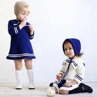 Wholesale Girls White Thick Sweater - NEW Autumn winter 2016 children baby girl 2 colour navy style sweater dress High-quality cotton Thick line girl sweater coat NY0-79