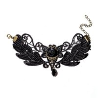 Wholesale Fancy Suit Designs - Sexy Hollow Butterfly Design Black Lace Bracelet Retro Gothic Rose Love Gem Charm Bracelets Suit Fancy Dress Costume Party
