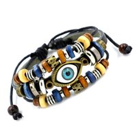 Wholesale Evil Eyes Charms - Fashion Hot Vivid Evil Eye Leather Bracelets Multilayer Handmade Beads Charm Bracelets Adjustable Friendship Bracelet For Men Women Jewelry