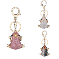 Wholesale Key Chain Frog - Wholesale Cute Fashion Keychain Crown Frog Key Chain Gift Bag Pendant 3 Styles Car Key Rings Decorate Keychain Free DHL D323Q