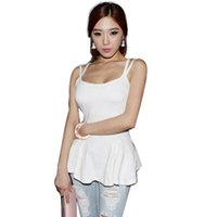 Wholesale Wholesale Black Peplum - Wholesale-Summer Korean Fashion Sexy Club Wear Backless Shirt Tops Women Ladies Casual Peplum Spaghetti Strap Tee Tank E556