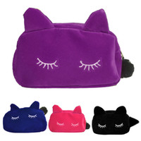 Wholesale Cute Pouch Bag - Wholesale Cute Portable Cartoon Cat Coin Storage Case Travel Makeup Flannel Pouch Cosmetic Bag Korean and Japan Style