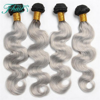 Wholesale Skin Toning Machine - High Products 9A Brazilian 4 Pcs Human Hair Extensions Ombre Silver Grey Hair Weave Bundles 1B Grey Two Tone Brazilian Body Wave