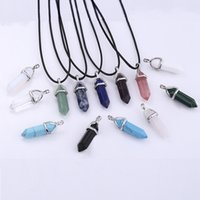 Wholesale Real Raw - 30 COLORS Leather Chains Real Raw Gem Pink Purple Crystal Bullet Reiki Point Chakra Natural Stone Pendant Necklace Women Jewelry