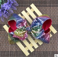 Wholesale Handmade Felt Hair Accessories - 7.5 Inches sequins hair BOWS without clips for kids girls children handmade large glitter felt rainbow sequins bows baby accessories R0449
