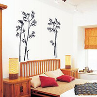 Wholesale Wall Decal Bamboo - 2016 new Wall Stickers Black Bamboo Mural Decor Decals decorative Removable Craft Art Wall Stickers free shipping