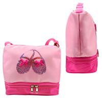 Wholesale Canvas Girls Gym Shoes - Fashion Cute Grils Kids Sequin Shoes Pink Dance Ballet Crossbody Bag Sport Gym Bag Waterproof Canvas Shoulder Bag For Children
