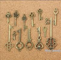 Wholesale Vintage Key Charms - Mixed Charms 3set=39pcs Vintage Charms Key Antique bronze Zinc Alloy Fit Bracelet Necklace DIY Jewelry Making Findings