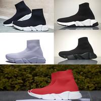 marcas para los hombres al por mayor-Marca Best Speed Sock Sneakers Hombre Mujer Zapatillas de deporte de punto elástico Zapatillas de running Speed Trainer Zapatos deportivos ligeros y casuales Bolsos para el polvo