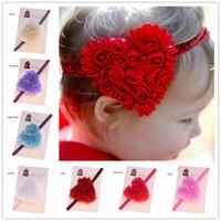 Wholesale Shabby Lace - 8 pcs Shabby Chiffon Heart Flowers Glitter Headband Newborn Baby Hairbow Photo Prop Valentines Day Hair Accessories