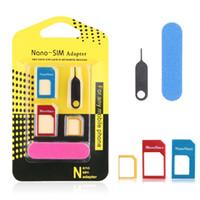 nano tray 4s großhandel-5 in 1 Nano-Sim-Karten-Adapter Regelmäßige Micro-Sim-Standard-SIM-Karten-Werkzeuge mit buntem für iPhone 4 4S 5 5c 5s 6 6s mit Kleinkasten