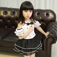 Wholesale Children wear new summer girl Strapless short sleeved cake skirt Middle big children two piece suit