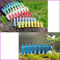 Wholesale Small Wood Crafts - (10 Colors) Mini Small Fence Barrier Wooden miniatures wood Craft Fairy Garden Palings Showcase home garden decorations