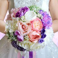 Wholesale Hot Pink Silk Flowers - Gorgeous Wedding Flowers Bridal Bouquets WF050 Pink+Purple Silk flowers Bridal Flowers For Beach Garden Wedding Hot Sale