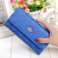 Wholesale Crown Embellishments Wholesale - Women Wallet Clutch Women Case Women's Long Wallet Money Bag Purse Card Holder Vintage Crown Embellishment Plaid Wallet