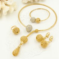 Wholesale Necklace Bracelet Earrings Crystal Balls - 2016 The New Fashion Africa 18K gold jewelry sets Gold ball necklace bracelet earring ring Dinner party Wedding Costume jewelry sets women