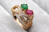 Wholesale Solitaire Emerald Rings - H1A18 Green Red 100% Natural Emerald Ruby 14K Yellow Solid Gold ring