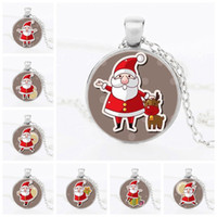 Wholesale Santa Signs - Charm Necklaces Christmas Gifts Ornaments US Halloween 9 cute Santa Claus sign 25mm Pendant Necklace Fashion DIY Jewelry best gift for kids