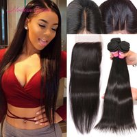 Wholesale Cheapest Mongolian Hair - Mongolian Silk Straight Lace Closure And 4 Bundles Hair Weaves Cheapest Mongolian Human Bulk Hair Extensions Straight Weave With Closure