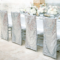 Wholesale Lace Chair - Newest Fashionable Sequin Lace Chair Covers 38*90CM Beach Wedding Supplies Desk Chair Covers Special Occasion Hotel Desk Cover