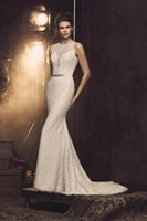 Wholesale White Fully Beaded Sheath Gown - 2017 Elegant Fit and Flare Wedding Dresses by Mikaella Bridal with Crew Neck and Beaded Sash Fully Lace Bridal Gowns with Covered Buttons