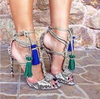 Wholesale Design New Sandal - New Brand Design Lace Up Snake Leather Fringe Women Sandals Pumps Tassel High Heels Gladiator Sandals Women Summer Shoes Woman