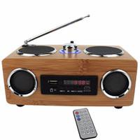 mini lecteur mp3 à distance achat en gros de-Haut-parleur portable multifonction fait main en bambou Mini salut-fi Haut-parleur en bambou en bois avec lecteur de carte TF / USB Radio FM avec télécommande Lecteur MP3