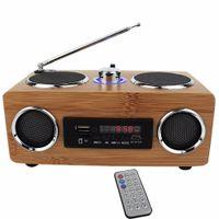 mini altavoz de control remoto al por mayor-Multifuncional Handmade Bamboo Speaker Mini Hi-Fi de madera de bambú Boombox TF / USB Card Speaker FM Radio con control remoto reproductor de MP3