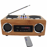 Wholesale Tf Card Boombox - Multifunctional Handmade Bamboo Portable Speaker Mini Hi-Fi Bamboo Wood Boombox TF USB Card Speaker FM Radio with Remote Control MP3 player