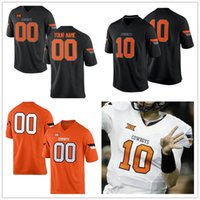 Wholesale Black Cowboys Jerseys - Custom Mens Oklahoma State Cowboys College Football Limited black orange white Personalized Stitched Any Name Number 1 10 21 34 Jerseys S-XL