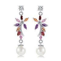 Supper Sweet Style 18K White Gold Plated Colorful CZ Pearl Flower Brincos para mulheres Nice Gift for Girl Friend