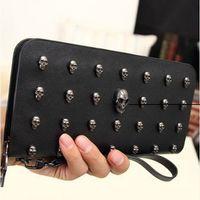 Wholesale Black Punk Purses - designer wallets famous brand women wallet 2015 Leather men wallets vintage Punk Skull Clutch Purses Card Holders carteira purse